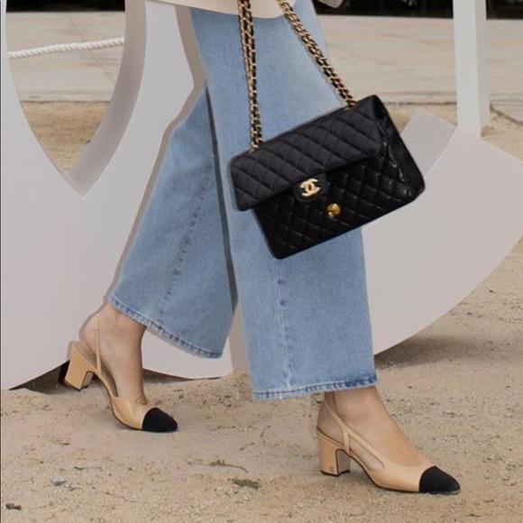 Chanel Slingback Heel Coco Halter Black